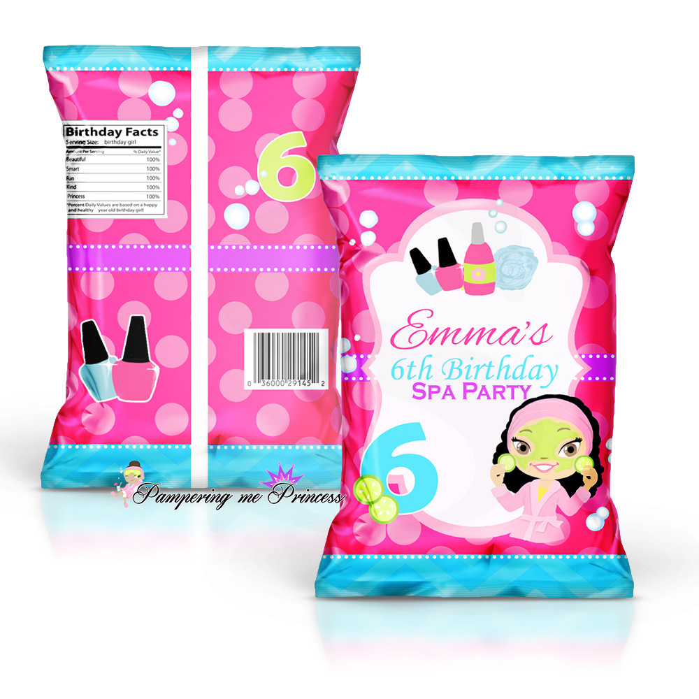 Spa party custom treat and chip bags for Spa closest to me