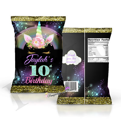 12 Black Unicorn Treat Bags
